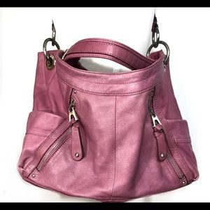 B Makowski Large Pink Leather Bag Purse Boho